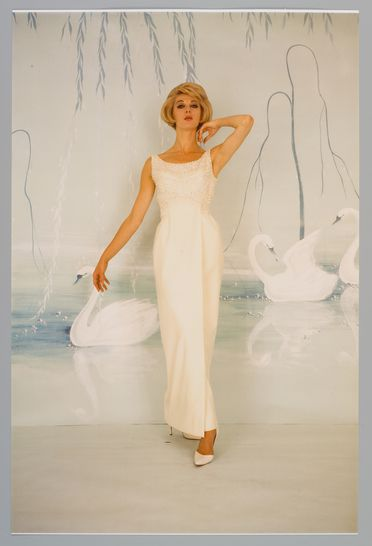 2009/43/1-1/47 Photographic print, colour, Janice Wakely model, photograph by Bruno Benini, taken in studio in front of background painting by Hazel Benini of white swans on blue water, photograph by Bruno Benini, Melbourne, Victoria, Australia, 1965