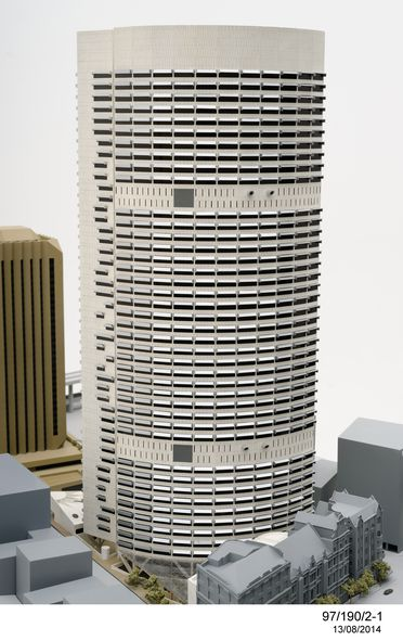 97/190/2 Architectural model and supporting material, 'Grosvenor Place', paper / perspex / plastic, designed by Harry Seidler and Associates, made by Arcmod Models Pty Ltd, photographed by Max Dupain & Associates Pty Ltd, Sydney, New South Wales, Australia, 1982