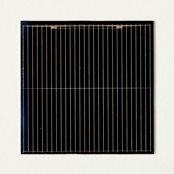 91/2086 Solar cells (2), monocrystalline silicon, laser grooved buried contact, silicon / metal, Professor Martin Green / Dr Stuart Wenham, University of New South Wales, Kensington, New South Wales, Australia, 1987. Click to enlarge.
