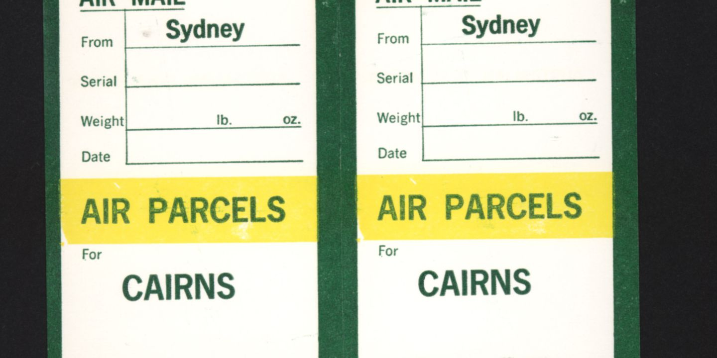 postal labels cairns air parcels cardboard ink postmaster