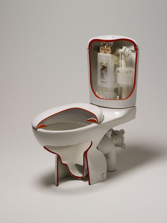 2006/67/1 Sectioned toilet suite and packaging, Caroma Smartflush 'Leda', mixed materials, made by Caroma Industries, Australia, 2004. Click to enlarge.