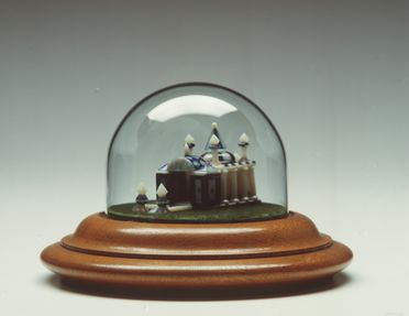 A4256 Model, Indian temple, opal / glass / wood, made by George Cormack, New South Wales, Australia, 1945-1950