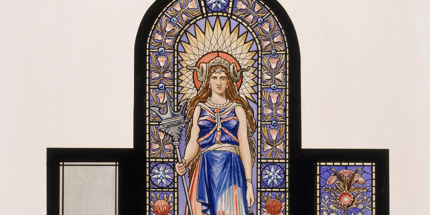 85/229 Watercolour, stained glass window, Town Hall, Sydney, designed by Lucien Henry for Centennial Hall, made by Goodlet & Smith Ltd, Sydney, New South Wales, Australia, 1888. Click to enlarge.