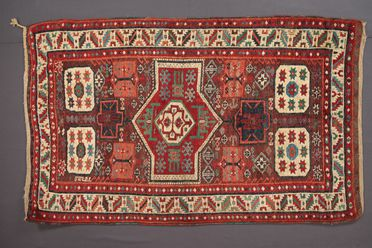 85/1902 Rug, knotted pile, wool, hand woven by a Yürük woman, Kagizman village, Eastern Anatolia (Turkey), c.1860