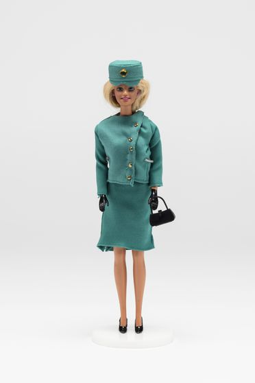 2010/70/1-9 Doll, Barbie wearing Qantas uniform 1964-1969, plastic / textile / metal, doll made by Mattel Inc, China, 1998, made by John Willmott-Potts, Young, New South Wales, Australia, 1988-2010