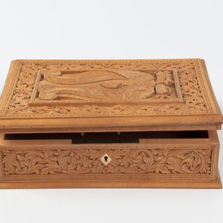 A67 Box, carved with scrolls, European beechwood / metal, based on a design by Lucien Henry, maker unknown, Australia, c 1885