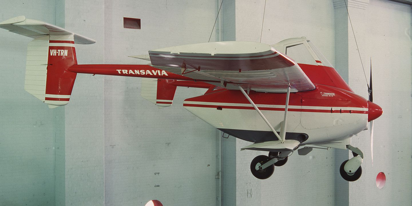 88/288 Aircraft, full size, Transavia Airtruk PL-12 Agricultural Airtruk, VH-TRN, made by Transavia Corporation Pty Ltd, 73 Station Road, Seven Hills, New South Wales, Australia, 1965. Click to enlarge.