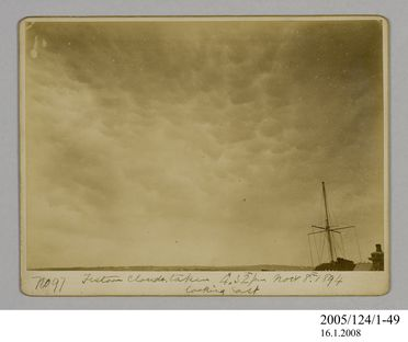 2005/124/1-49 Photograph, part of collection owned by James Short, black and white, festoon clouds looking east, mounted, card / paper, photographer unknown, Sydney, New South Wales, Australia, 8 November 1894