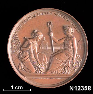 N12358 Prize medal, London International Exhibition / for landscapes, silver, designed by W Kullrich, London, England, awarded to Mrs Scott, 1862