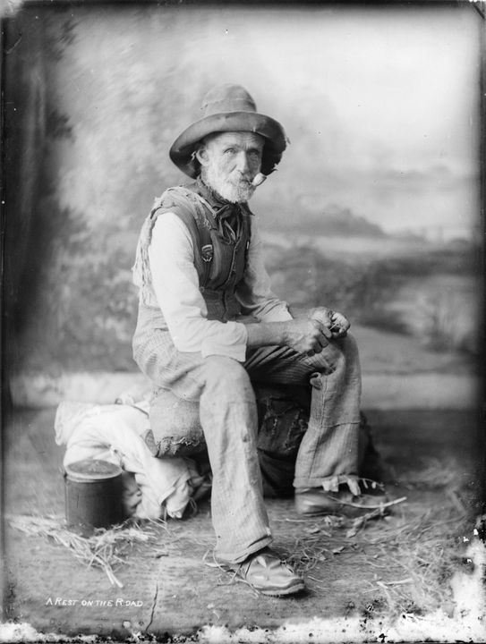85/1286-430 Photograph, [silver gelatin] negative print, 'A Rest on the Road', paper, negative print of full plate glass negative, unattributed studio, c.1880-1923, print maker and date unknown. Click to enlarge.