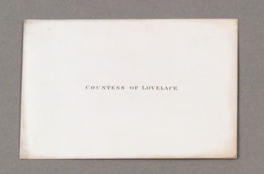 97/186/1-1/4 Visiting card and envelope, Augusta Ada King, Countess of Lovelace, to Charles Babbage, c. 1840