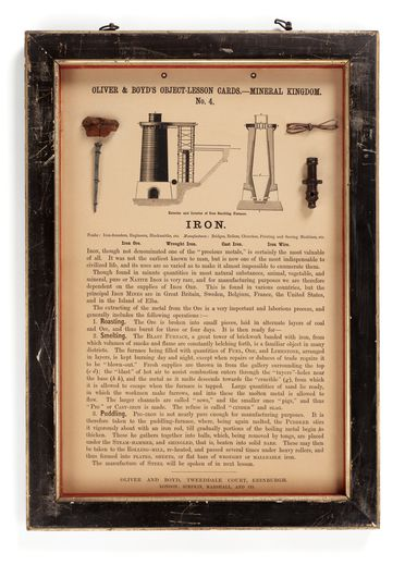 P442 Object lesson card, part of collection, 'Iron', framed, metal / cardboard / glass / wood / paper, published by Oliver and Boyd, Edinburgh, Scotland, 1880-1884