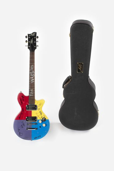 2020/123/1 Electric guitar and case, signature model, signed by The Wiggles band members, metal / wood, made by Maton Pty Ltd, Box Hill, Victoria, Australia for The Wiggles International Pty Limited, Sydney, Australia, 2015