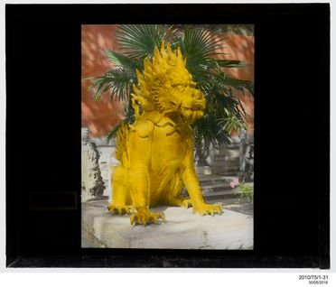 2010/75/1-31 Lantern slide (1 of 89), stone statue of Qilin (Kylin or legendary Chinese unicorn), glass / metal, Serge Vargassoff, Peking, China, 1920-1949