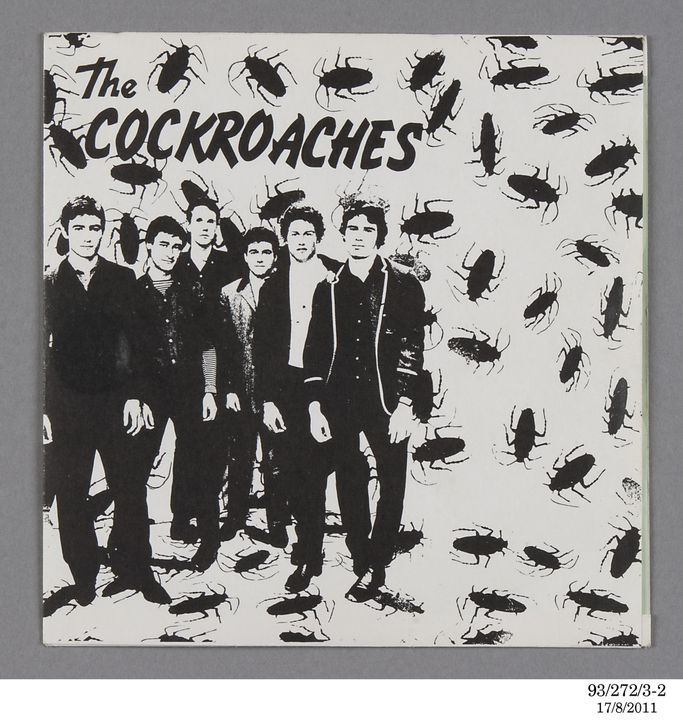 93/272/3 Audio record, 'I Want a Leather Jacket / Blue Moon of Kentucky', The Cockroaches, vinyl, produced by Refugee Records, Australia, 1980. Click to enlarge.