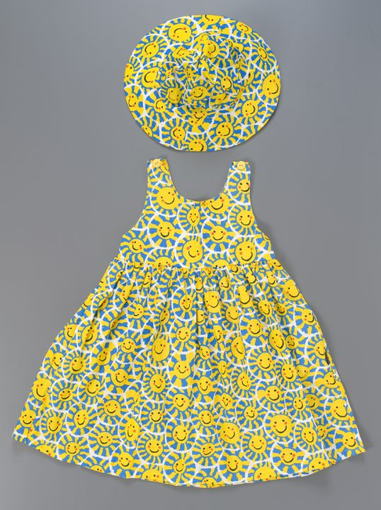 2007/110/6 Sundress and sunhat, girls, sun print, screenprinted cotton, designed by Adrienne Higgs, made by Scribbly Graphics, Thirlmere, New South Wales, Australia, c. 2000. Click to enlarge.
