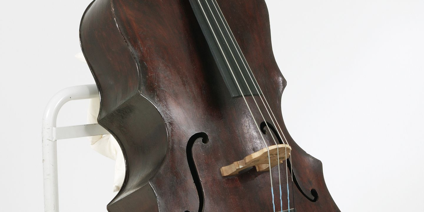 2004/6/1 Double bass, timber / metal, designed and made by Herbert Edwin Lansdown, Lismore, New South Wales, Australia, 1927. Click to enlarge.