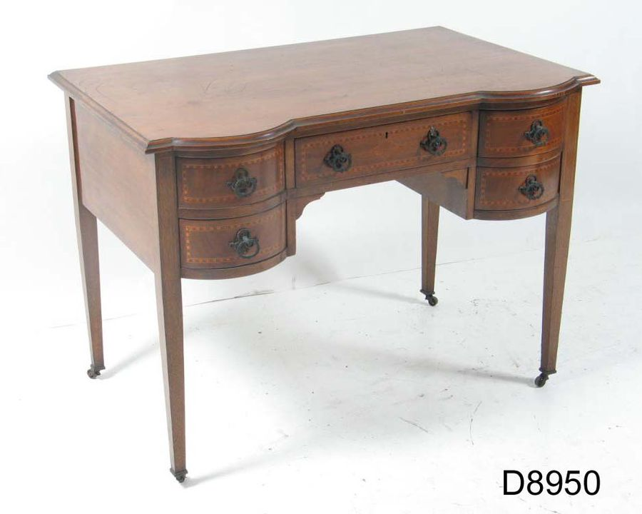 D8950 Writing table, Queensland Maple (Flindersia [chatawaiana]), maker unknown, purchased from Mark Foys Ltd, Sydney, New South Wales, Australia, 1919. Click to enlarge.