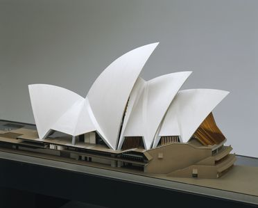 B2309 Architectural model, Sydney Opera House, Jorn Utzon's design for the major hall, wood / plastic, constructed by Finecraft Scale Models Pty Ltd, Sydney, New South Wales, Australia, 1964-1966