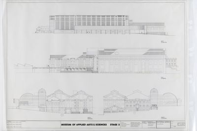 2008/88/1 Architectural drawings (14), Powerhouse Museum, tracing paper / microfilm / ink, designed by Lionel Glendenning, made and used by New South Wales Department of Public Works, Sydney, New South Wales, Australia, 1987