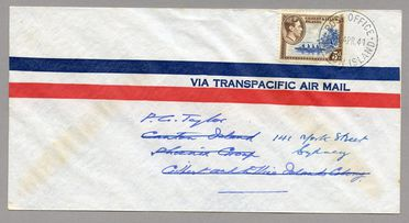 85/112-21 Philatelic cover, Canton Island to Australia, paper, made for PAA (Pan Am), place unknown, 1941