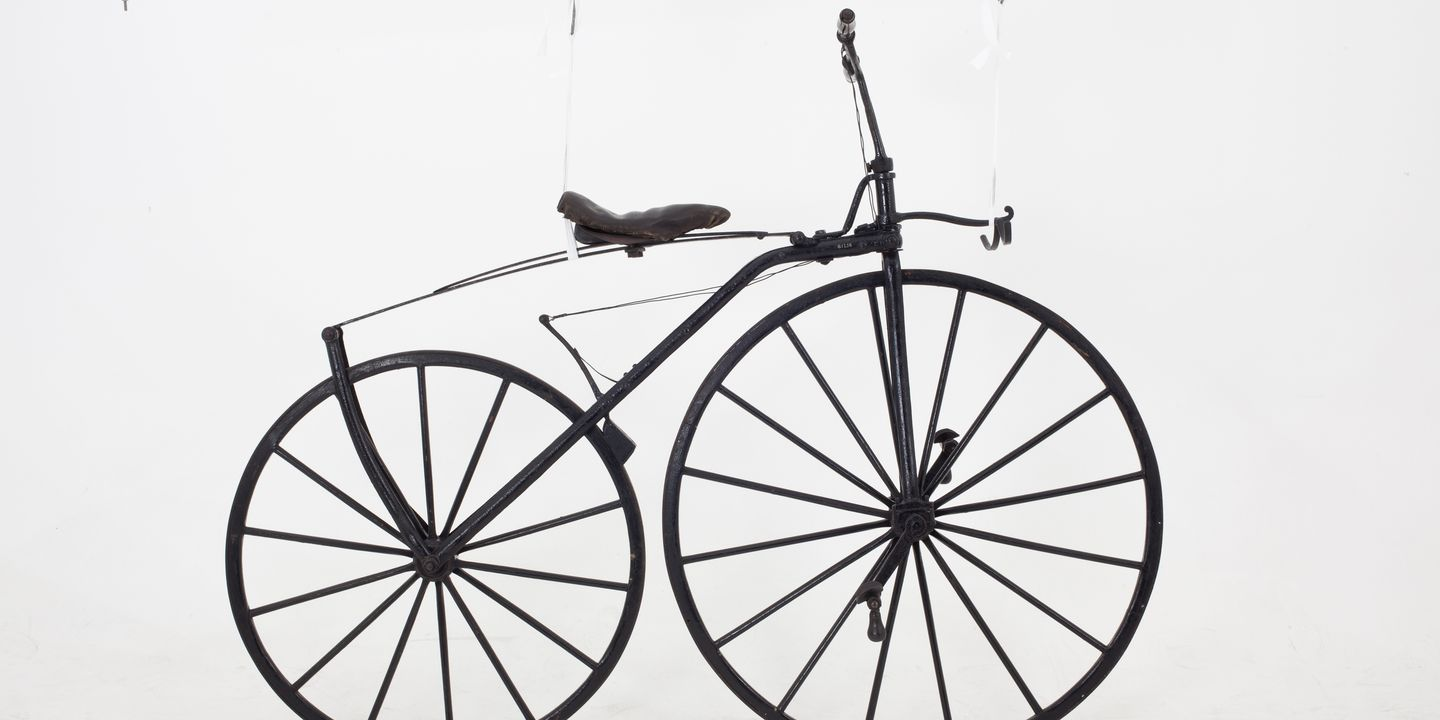 B1258 Bicycle, Velocipede, boneshaker, Michaux-type, metal, maker unknown, c. 1869. Click to enlarge.