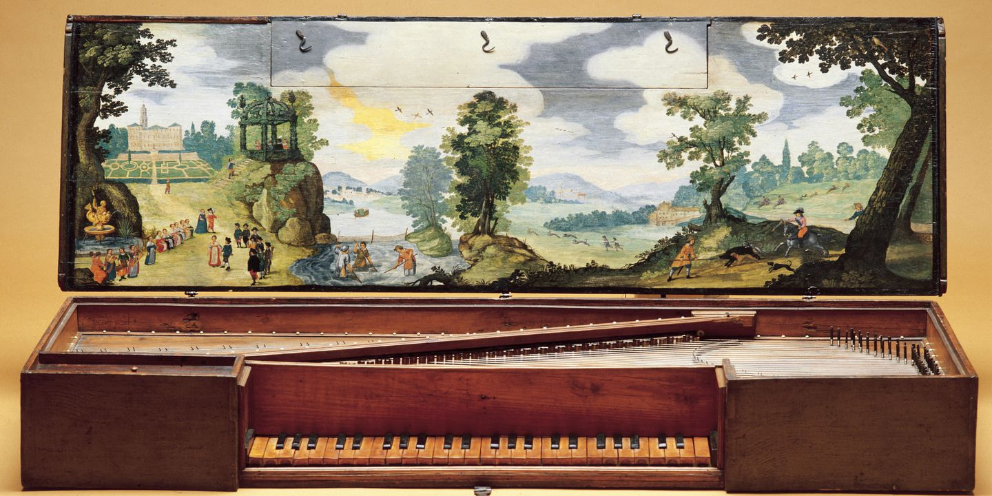 85/372 Virginal, wood / bone / tempera, attributed to Vincentius de Taeggiis, Bologna, Italy, 1629. Click to enlarge.