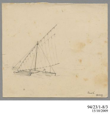94/23/1-8/3 Drawing, pencil, 'Shark 28.5.97', Lawrence Hargrave, 1897