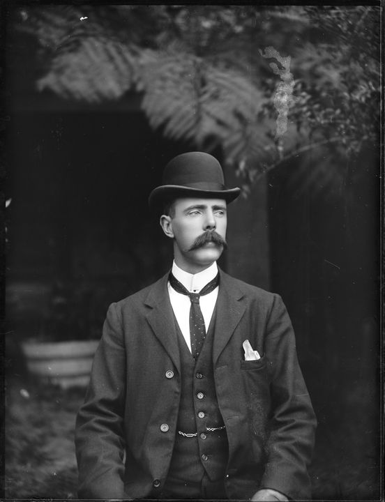 2008/165/1-108 Glass plate negative (1 of 193), portrait of man in dark three piece suit, glass, photographer possibly Arthur Phillips, Australia, c. 1900. Click to enlarge.
