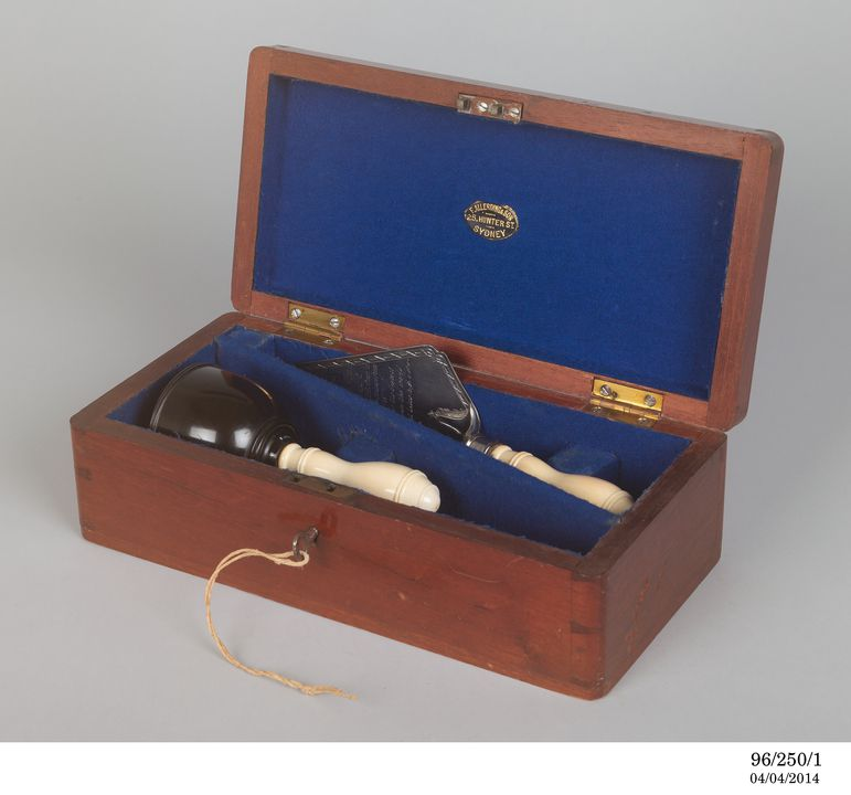 96/250/1 Presentation set, for setting the first stone in the Hawkesbury River Railway Bridge, wood / metal / ivory / fabric, made by Allerding & Son, Sydney, New South Wales, Australia 1887, presented to Louis Samuel, civil engineer, 6 June 1887. Click to enlarge.