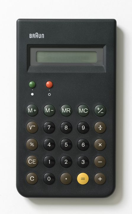 2012/33/1 Calculator, Braun ET66, plastic / metal / electronic components / paper, designed by Dieter Rams and Dietrich Lubs, for Braun AG, Germany, made in Hong Kong, 1987. Click to enlarge.