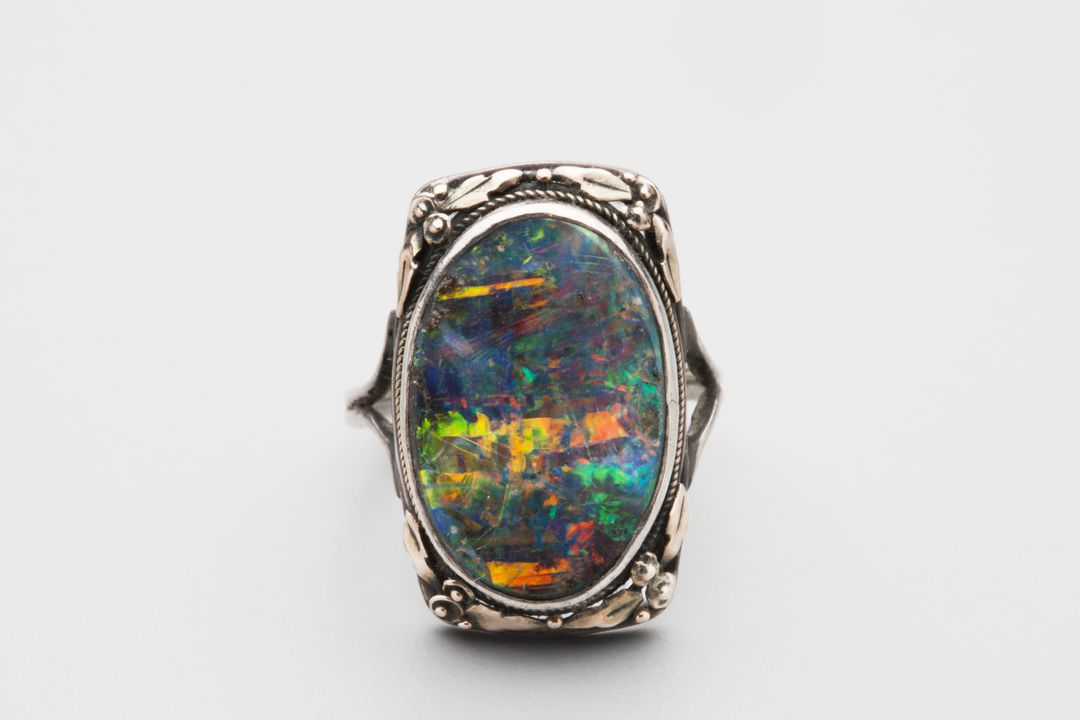 2013/113/4 Ring, silver / gold / black opal, designed and made by Rhoda Wager, Sydney, New South Wales, Australia, exhibited at the 50th anniversary exhibition of the English Arts and Crafts Society, London, England, 1938. Click to enlarge.