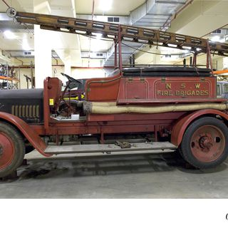 B1871 Fire engine, full size, Dennis-Tamini, 250-gpm, motor pump, New South Wales Fire Brigade Appliance No. 221, chassis No. 7587, engine No. 41005024, chassis made by Dennis Bros Ltd, Guildford, Surrey, England, 1932, body by New South Wales Fire Brigade, 1933 used at Lakemba, Moree, Cooma, and Ba