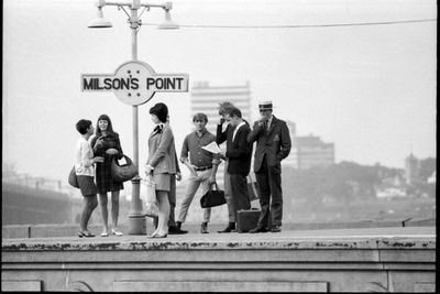 96/44/1-5/4/65/1 Negative, black and white, passengers waiting at Milsons Point railway station, for the book 'Sydney, A Book of Photographs', 35mm acetate film, David Mist, Sydney, New South Wales, Australia, 1969