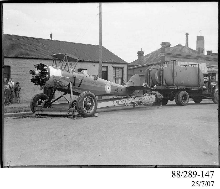 88/289-147 Photographic glass plate negative, Avro Cadet trainer aircraft A6-17 on float, Clyde Engineering Pty Ltd, Australia, 1941. Click to enlarge.