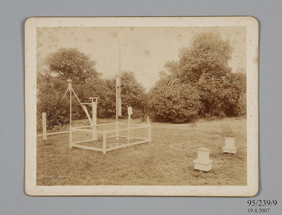 95/239/9 Photographic print, mounted on card, meteorological instruments in the grounds of the Sydney Observatory, paper / albumen emulsion, photographer Charles Bayliss, Sydney, New South Wales, Australia, 1880-1900. Click to enlarge.