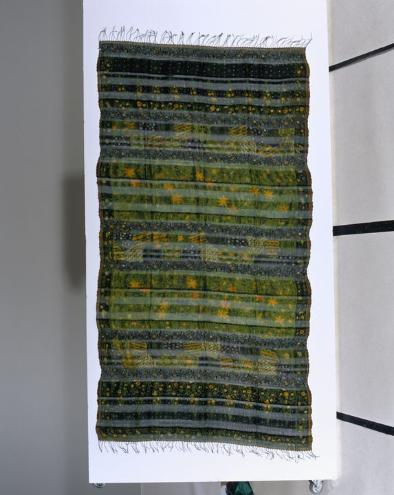 2004/147/2 Shawl, selendang (shoulder cloth), handwoven silk with alternate weave and embroidery, batik, Bin House, Java (possibly Cirebon), Indonesia, 2001. Click to enlarge.