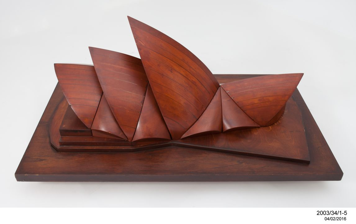 2003/34/1 Models (4), Sydney Opera House, wood, designed by Jorn Utzon / made by Ove Arup and Partners, England / Australia, 1960-1968. Click to enlarge.
