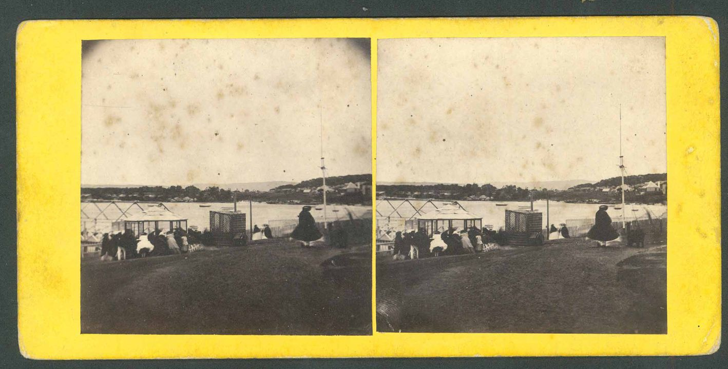 H9248-7 Photographic print (stereoscopic), exterior view, Watsons Bay, paper / albumen / silver, mounted on yellow card, publisher unknown, Sydney, New South Wales, 1860-1870. Click to enlarge.