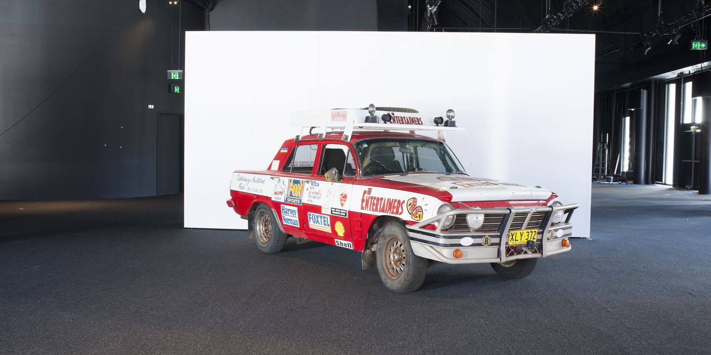 2004/50/1 Automobile, full size, EH Holden Premier 179 sedan, 'The Entertainers', metal / glass / plastic / rubber, driven by Dick Smith in first Variety Club Bourke to Burketown Bash in 1985, General Motors Holden Ltd, Melbourne, Victoria, Australia, 1964. Click to enlarge.