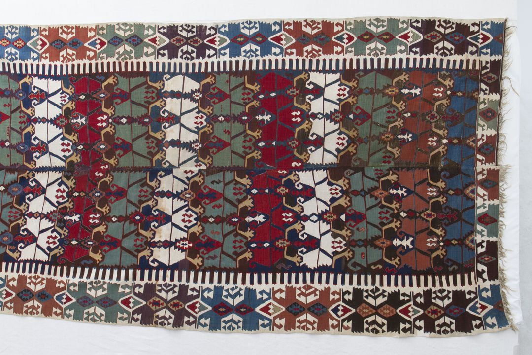 85/1903 Kilim, wool, slit tapestry weave, made in Konya, Central Anatolia (Turkey), 1850-1870. Click to enlarge.