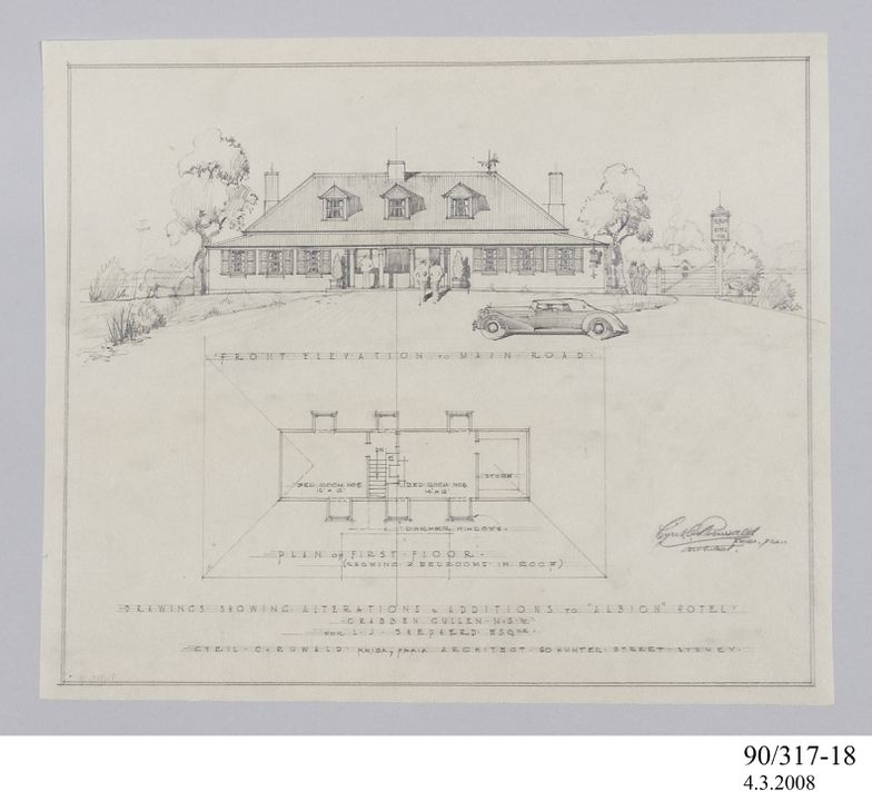 Architectural drawing, front elevation and plan of first