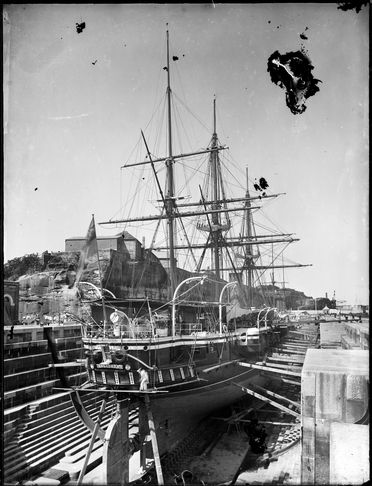 2008/165/1-9 Glass plate negative, depicting HMS 'Curacoa' of Imperial Squadron in Sutherland Dock on Cockatoo Island, Sydney Harbour, glass (1 of 193), photographer possibly Arthur Phillips, Sydney, New South Wales, Australia, 1890-1894