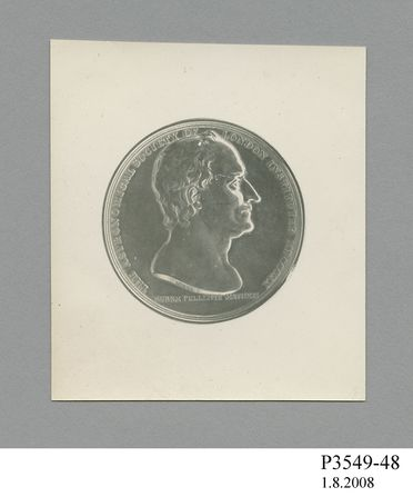 P3549-48 Photograph, silver gelatin print, of medal awarded to James Dunlop, paper, photographer unknown, used by Sydney Observatory, Sydney, New South Wales, Australia, 1868-1982