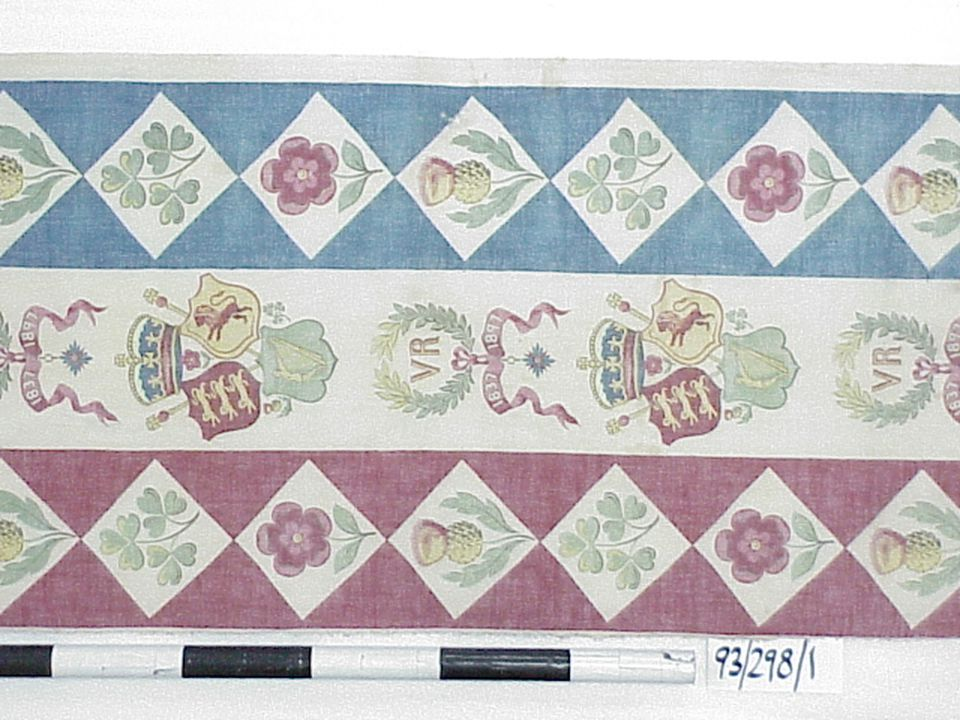 93/298/1 Textile length, 'VR 1837-1897', Queen Victoria Diamond Jubilee, printed cotton, [England/Australia], 1897. Click to enlarge.