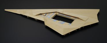 2014/70/1-6 Presentation model, part of a collection of design and presentation models (1 of 20), Prince Alfred Park Pool, 1:200, balsa wood / paper, designed and made by Neeson Murcutt Architects, Sydney, New South Wales, Australia, 2006