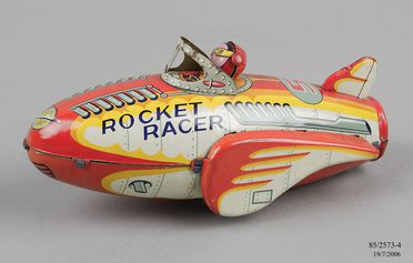 85/2573-4 Toy space rocket, 'Rocket Racer 5', tin plate, friction motor, made by Modern Toys, Japan, c.1955