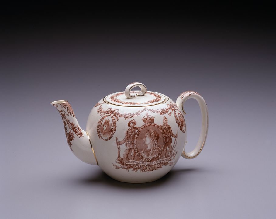 A2368 Teapot, commemorating Australian Federation 1901, earthenware, made by Doulton & Co, Burslem, England, c. 1900. Click to enlarge.