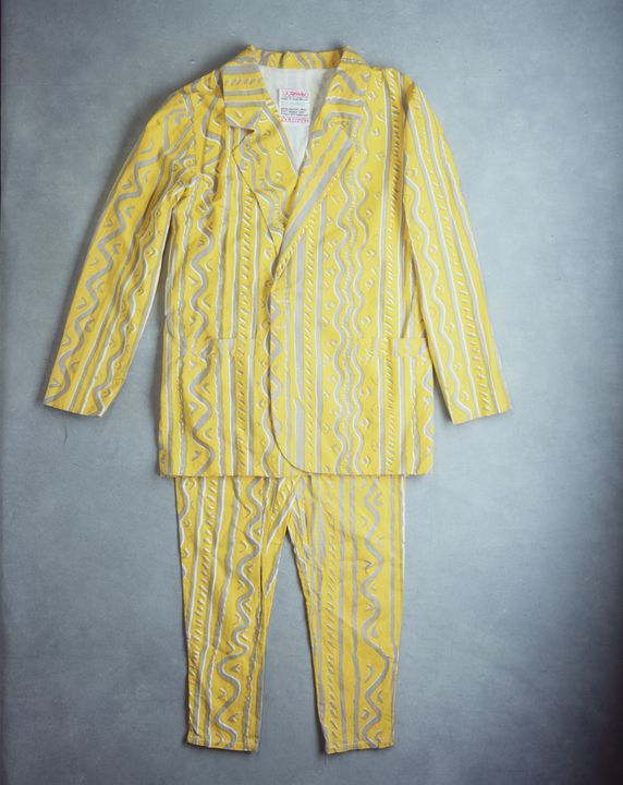 99/111/1 Performance costume, suit, cotton, used by Martin Plaza of Mental as Anything, Mambo, Australia, 1986. Click to enlarge.
