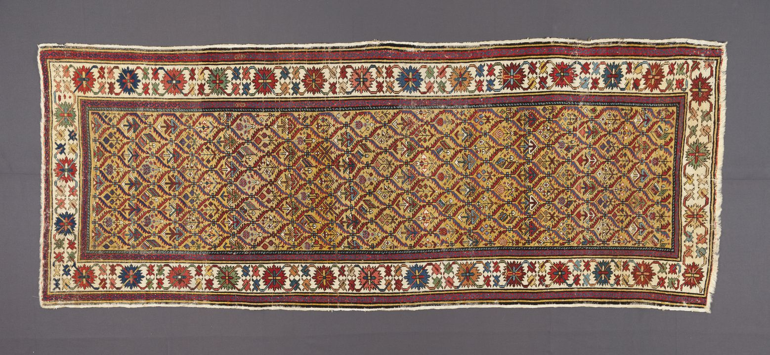 2004/136/2 Rug or runner, wool / cotton, Kuba region, northern Caucasus, 1850 - 1860. Click to enlarge.
